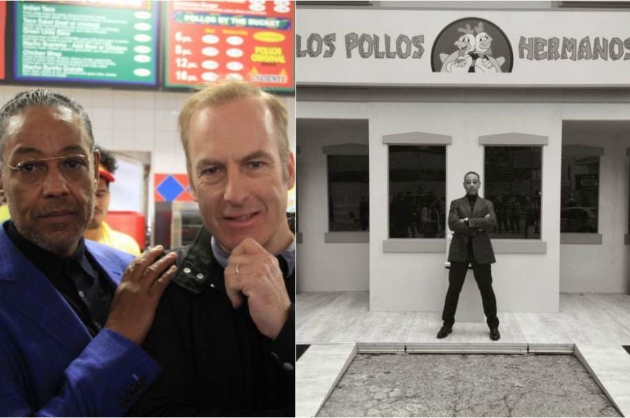 Actores Giancarlo Esposito y Bob Odenkirk en local de Los Pollos Hermanos
