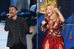 Juanes y Shakira, cantantes colombianos.