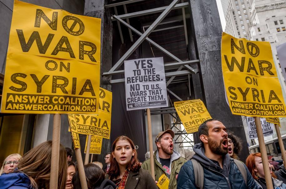 Manifestación contra la guerra en Siria