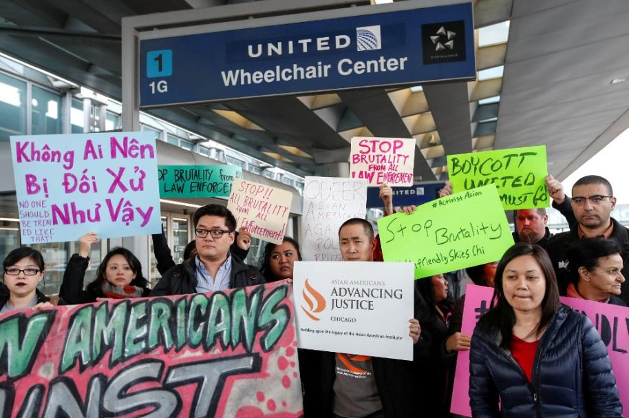 Protesta contra United Airlines