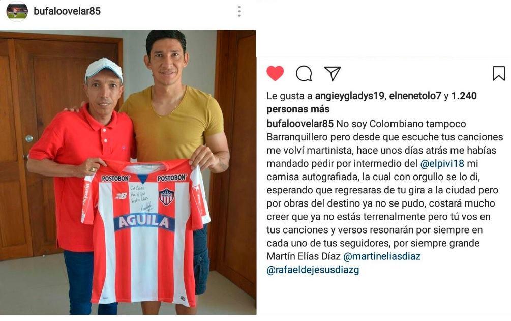 Post de Ovelar con la camiseta que le regaló a Martín Elías