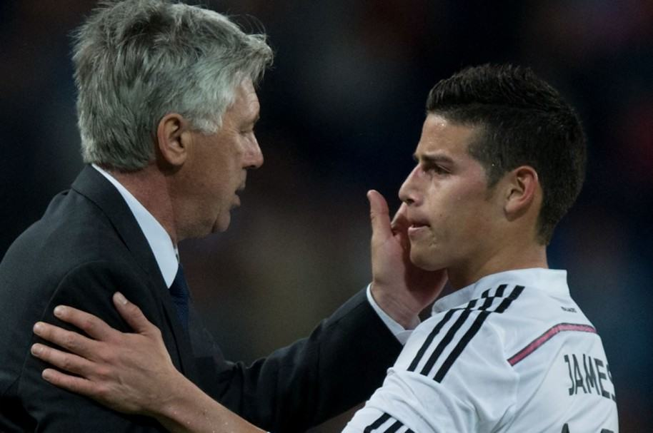 Ancelotti y James