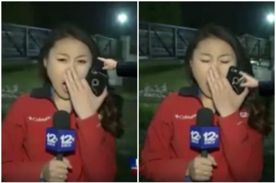 Presentadora bosteza.