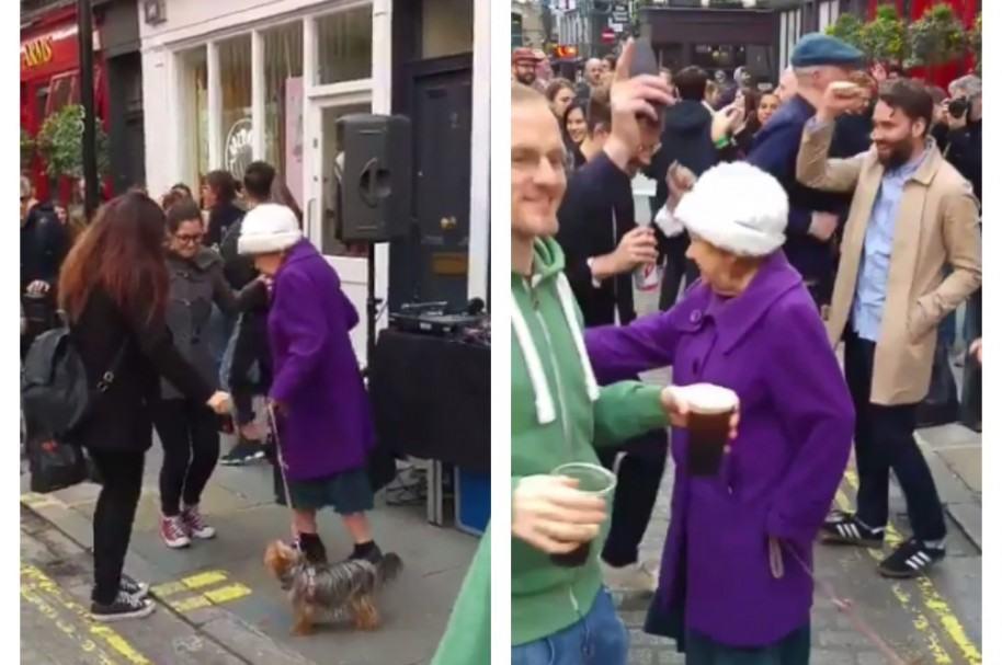 Anciana baila en calle de Londres. Pulzo.com