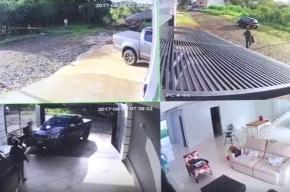 Hombre persigue a ladrones en su camioneta.