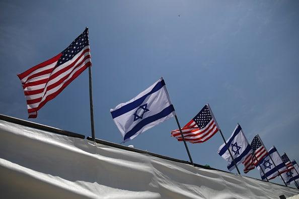 Banderas de EE. UU. e Israel