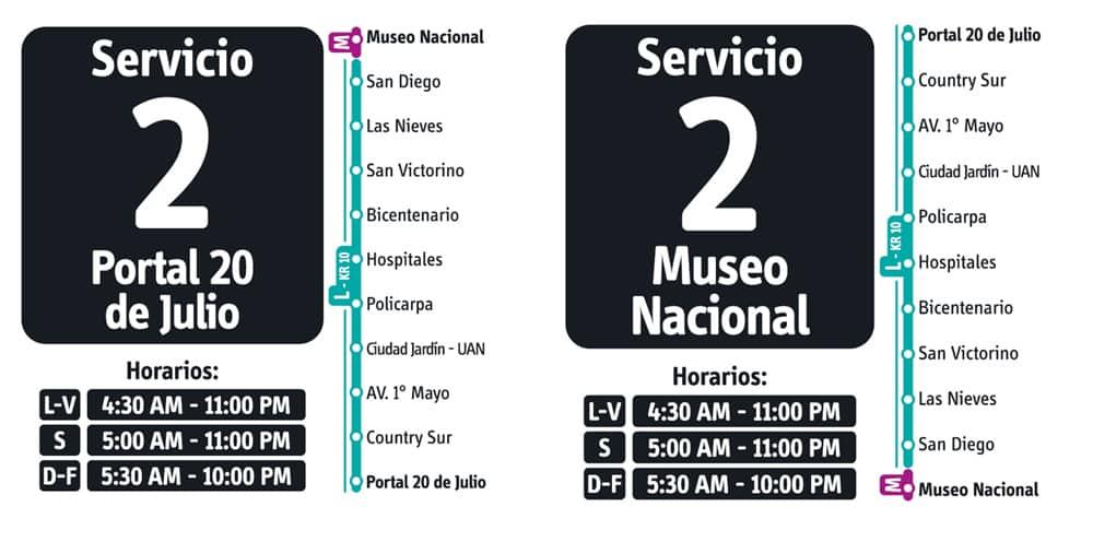 Servicio 2 de ruta fácil en Transmilenio