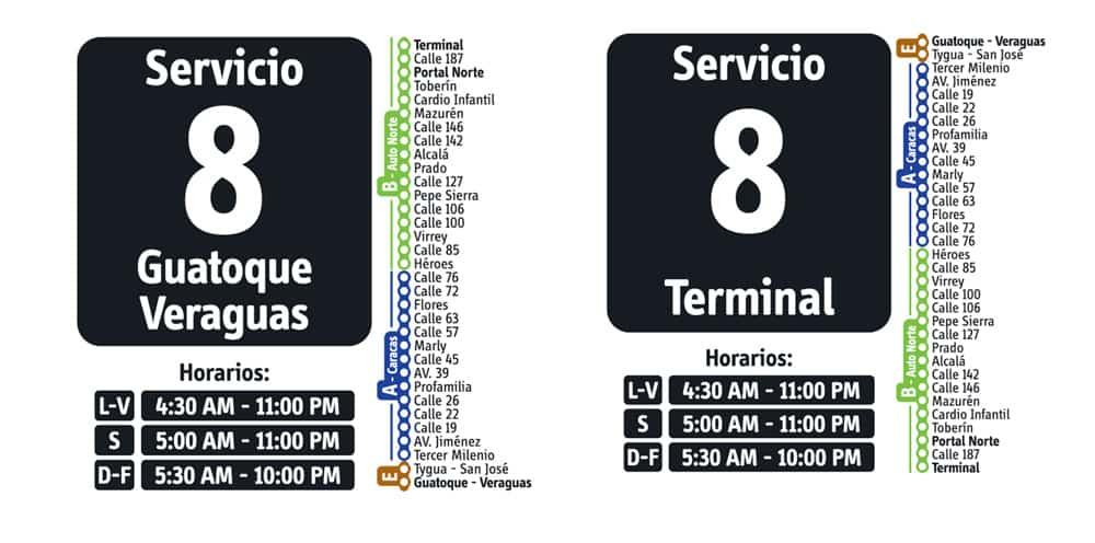 Servicio 8 de ruta fácil en Transmilenio