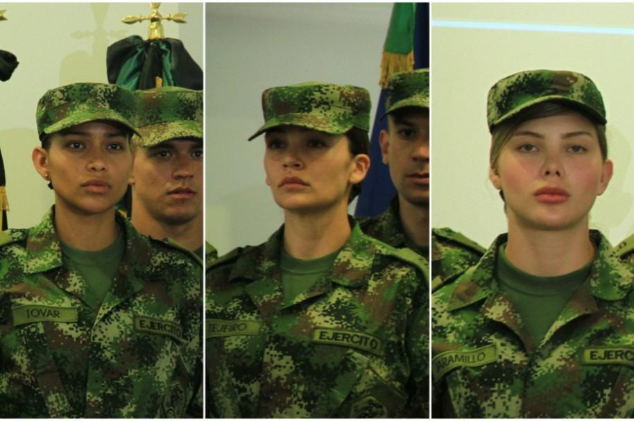 Andrea Tovar, ex Miss Universo; Lina Tejeiro, actriz; y Sofía Jaramillo, modelo, en reality de RCN 'Soldados 1.0'.