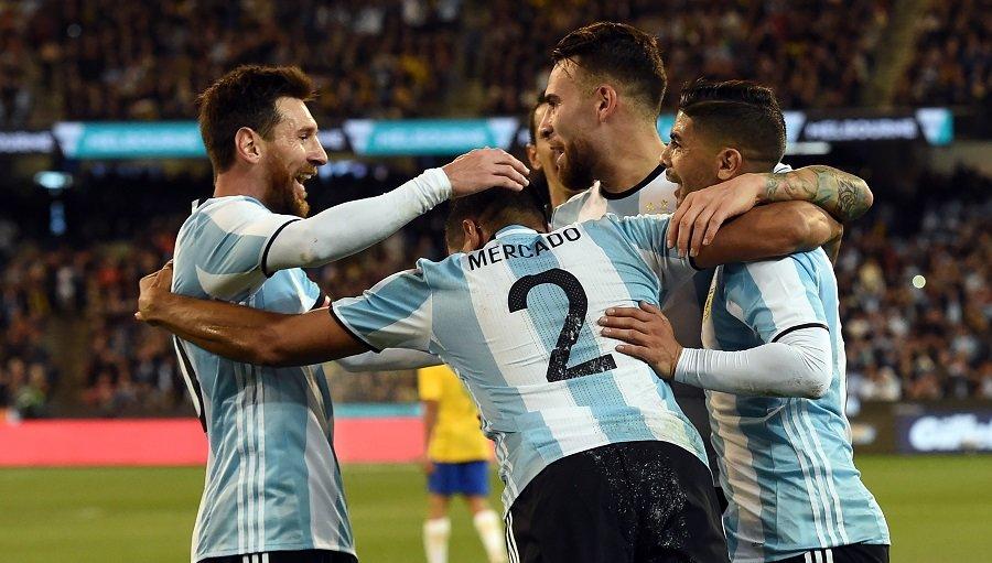 Argentina celebra su gol contra Brasil