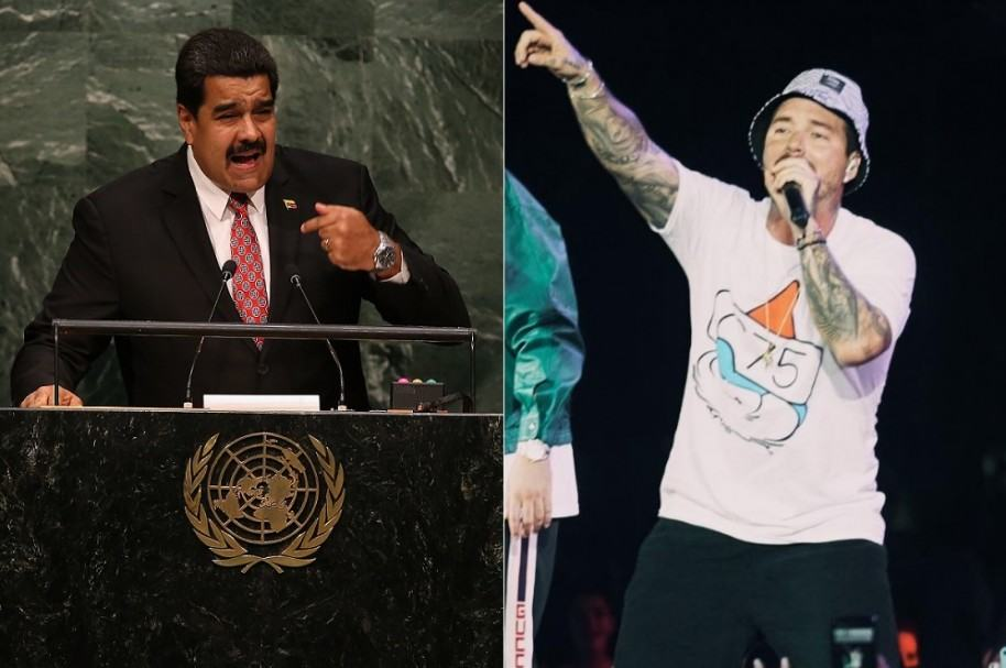 Nicolas Maduro, presidente de Venezuela, y J Balvin, cantante colombiano.