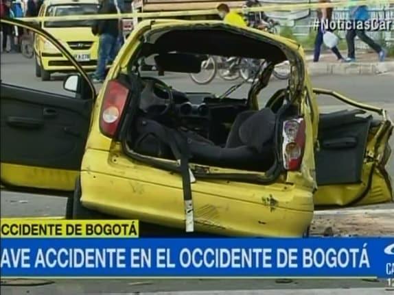 Taxi accidentado en Bogotá. Pulzo.com