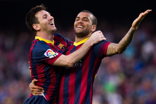 Dani Alves y Lionel Messi
