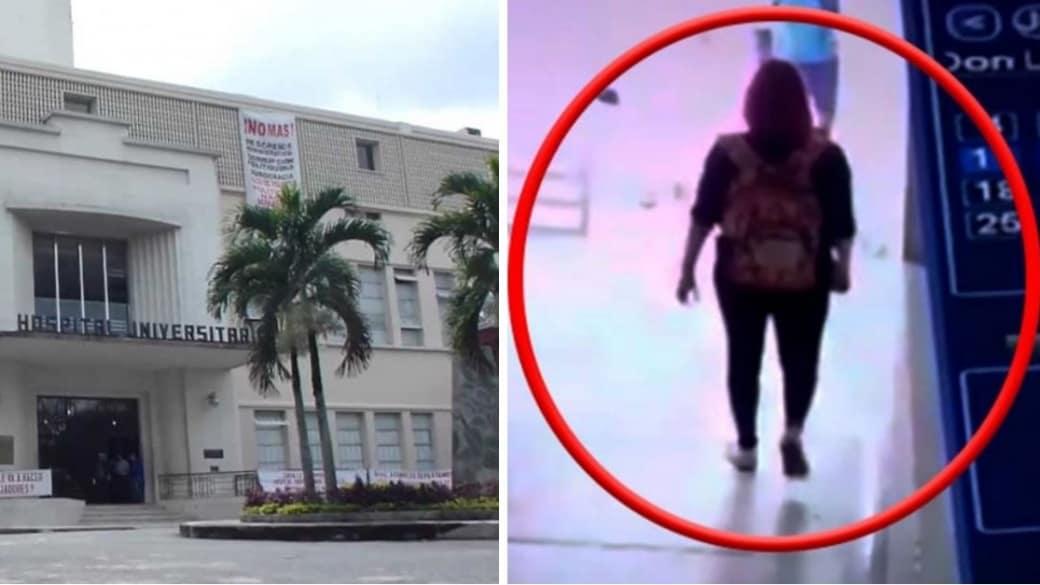 Hospital Universitario del Valle y la estudiante caminado por los pasillos