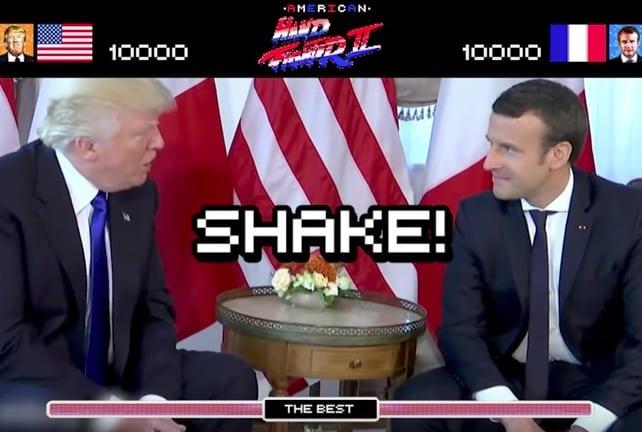 Parodia basada en encuentro que tuvieron Donald Trump y Emmanuel Macron, presidentes de EE. UU. y Francia, respectivamente. Pulzo.com