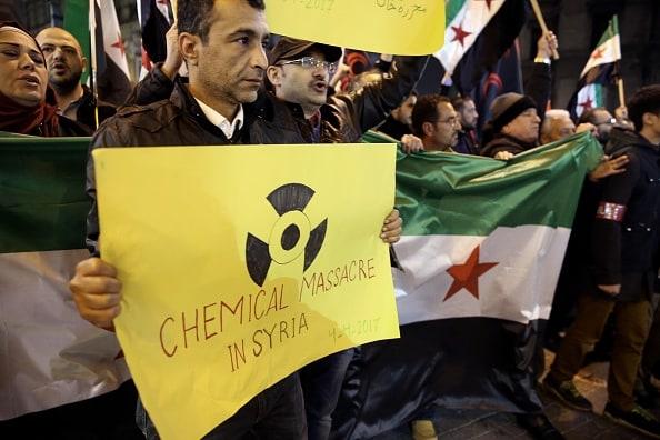 Protesta contra ataque químico en Siria