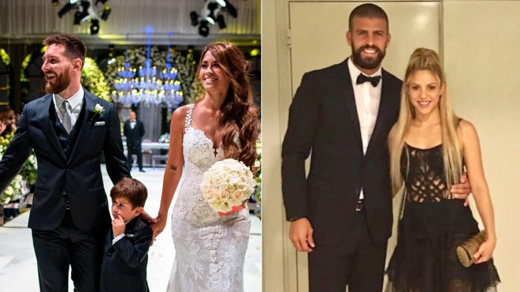 El futbolista Lionel Messi junto a su esposa Antonella Rocuzzo y su hijo Thiago; y la cantante Shakira con su pareja, el jugador Gerard Piqué.