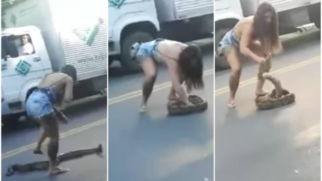 Mujer levanta anaconda.