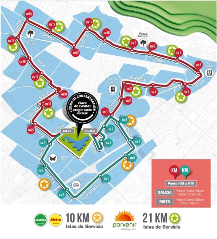 Ruta Media Maratón de Bogotá