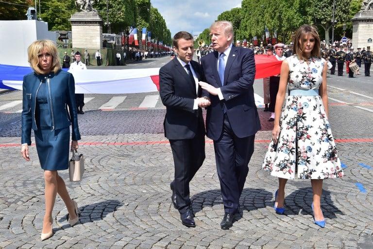 Presidentes Emmanuel Macron y Donald Trump y sus esposas