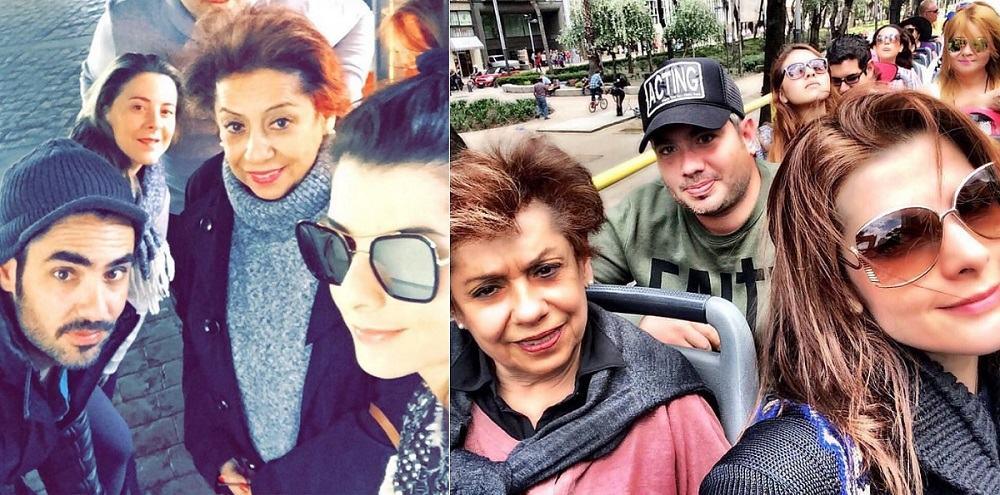 El actor Lincoln Palomeque con su mamá Olga Sandoval; su pareja, la presentadora Carolina Cruz: y su hermano Juan Pablo Palomeque.