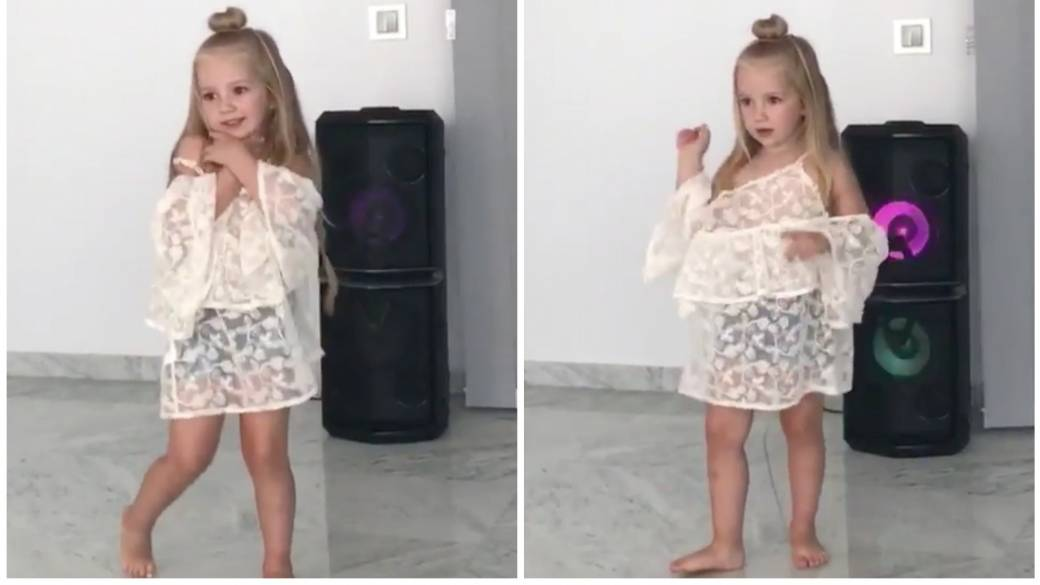 Althea, hija de Ivan Rakitic, bailando 'Me enamoré'. Pulzo.com