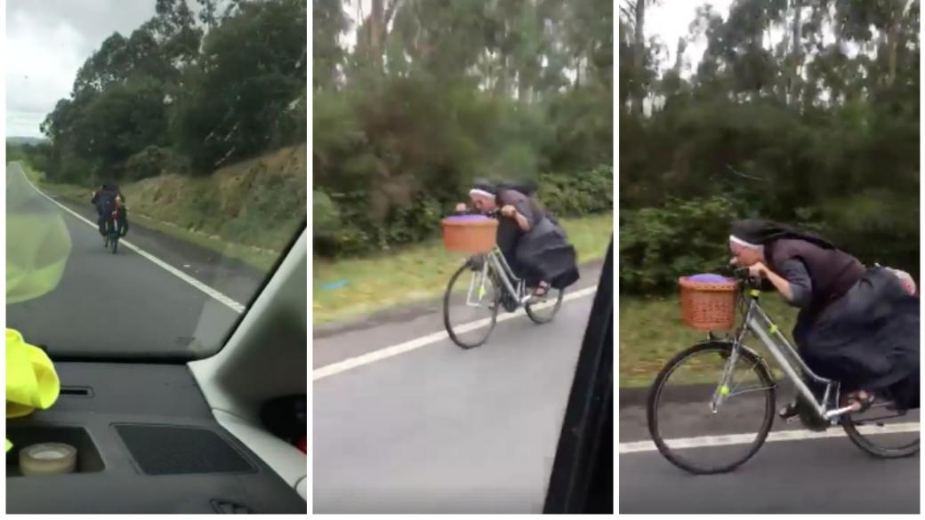 'Sor bicicleta', monja que montó bicicleta en una carretera. Pulzo.com