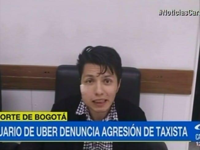 Usuario de Uber agredido por taxista en Bogotá. Pulzo.com