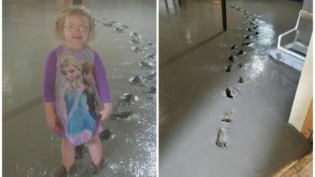 Niña se metió en cemento fresco, en el sótano de su casa. Pulzo.com