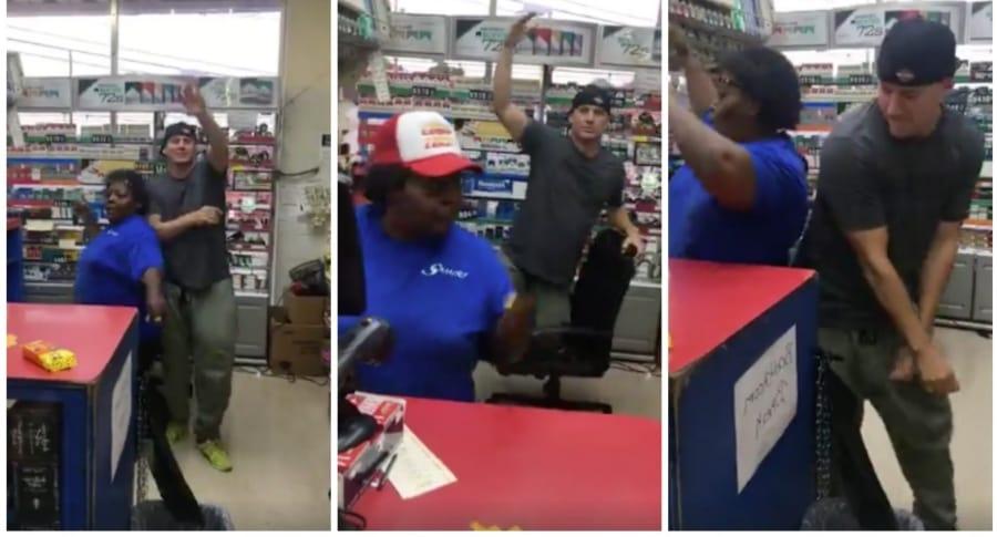 Channing Tatum bailando en la tienda de una gasolinera. Pulzo.
