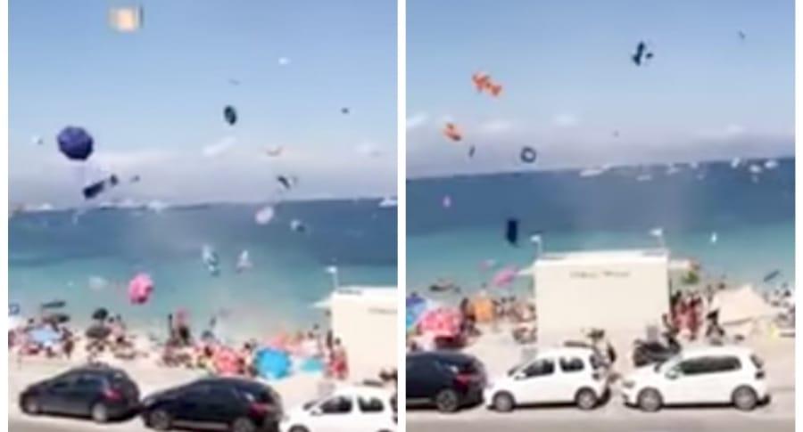 Objetos volando en playa de Francia. Pulzo.