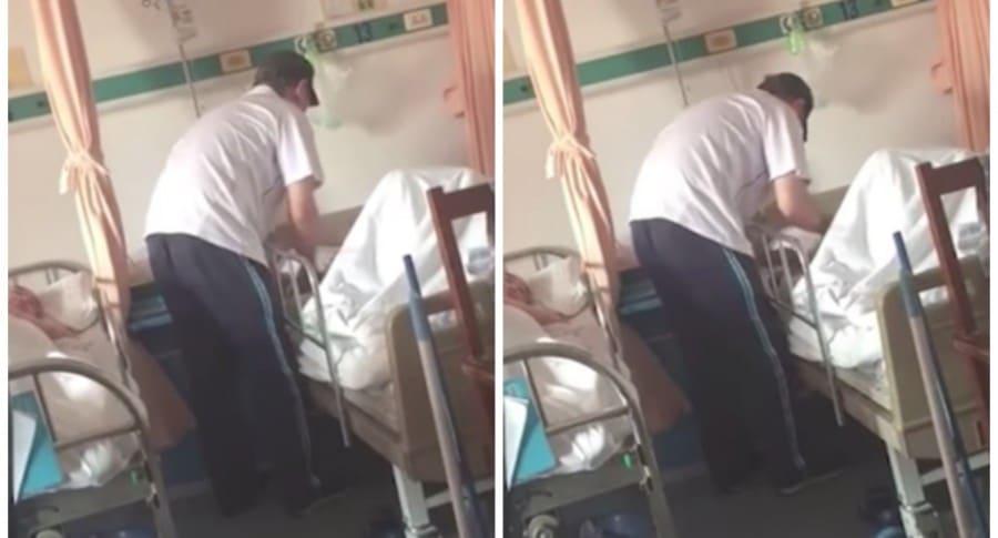Hombre agrediendo a su padre en un hospital. Pulzo.