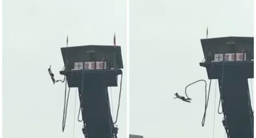 Joven haciendo bungee jumping. Pulzo.