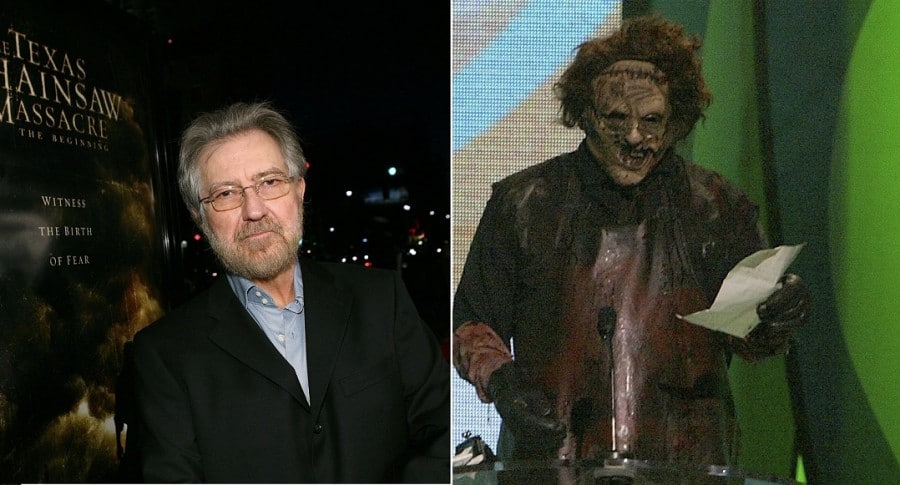 Tobe Hooper, director de cine, y Leatherface de 'La matanza de Texas'.