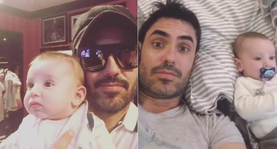 El actor Lincoln Palomeque y su hijo Matías.