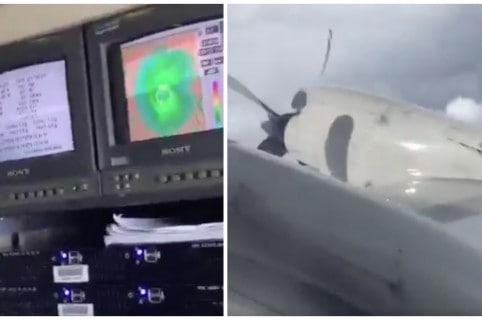 Avión volando el ojo del huracán Irma. Pulzo.