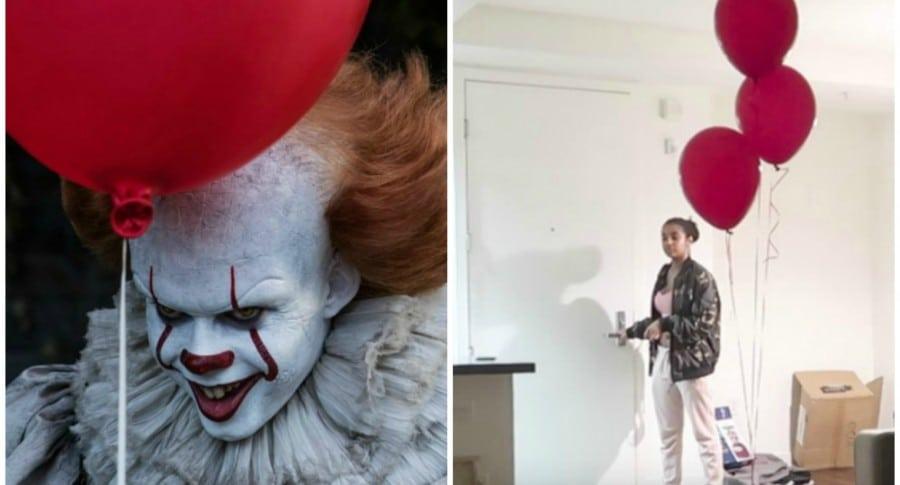 Payaso de 'It' y 'youtuber' a la que le hicieron broma con un disfraz de él. Pulzo.