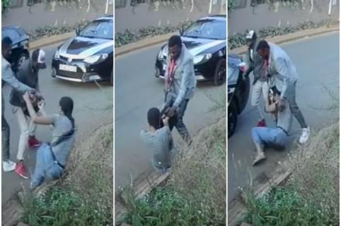 Mujer se enfrenta a ladrones.