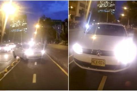 Carro que invadió ciclorruta en Bogotá. Pulzo.