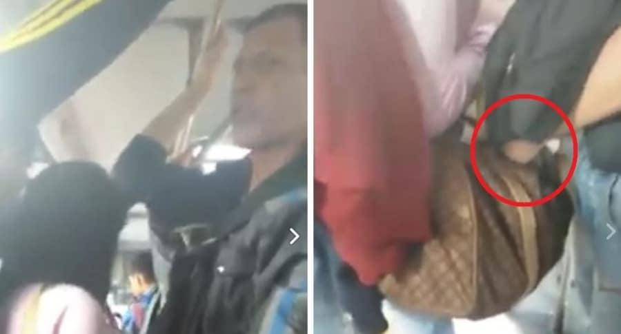 Momento en el que el sujeto (foto) roba a la mujer en Transmilenio