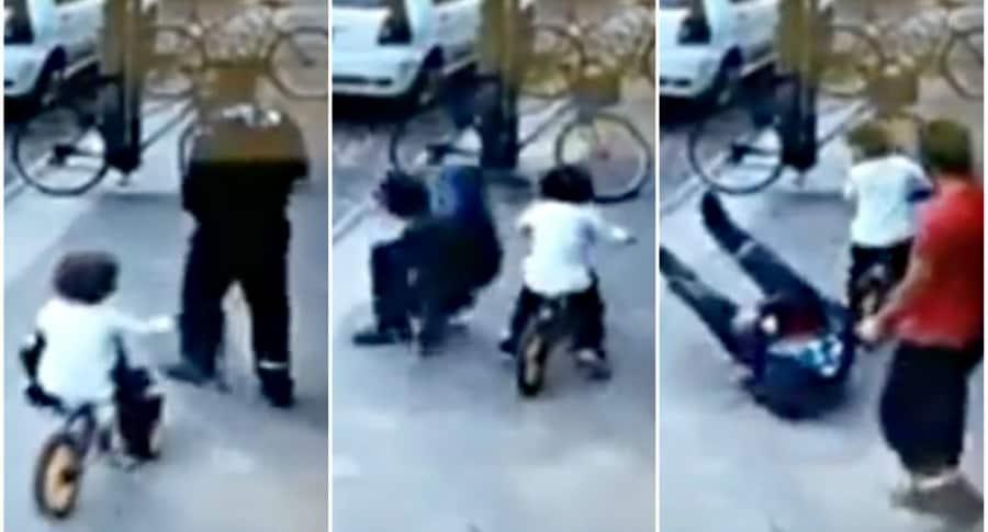 Niño en bicicleta 'atropella' a hombre.