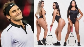 Roger Federer y candidatas a Miss Bumbum