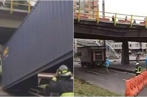 Trancón por tractomula que se estrelló en puente de autopista norte con calle 116