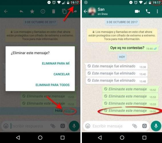 Eliminación de mensajes de WhatsApp