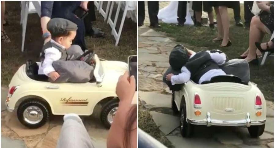 Niño lleva argollas de matrimonio.