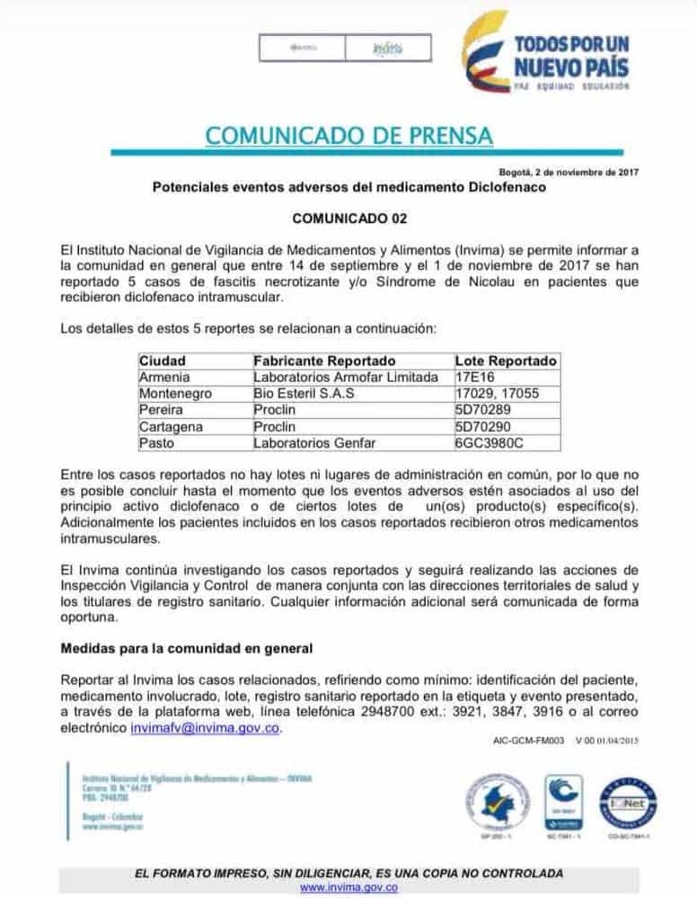Comunicado Invima