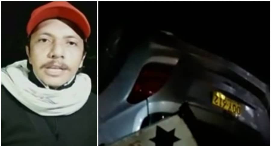 Harvey Morales, imitador de Joan Sebastian, y su carro accidentado. Pulzo.