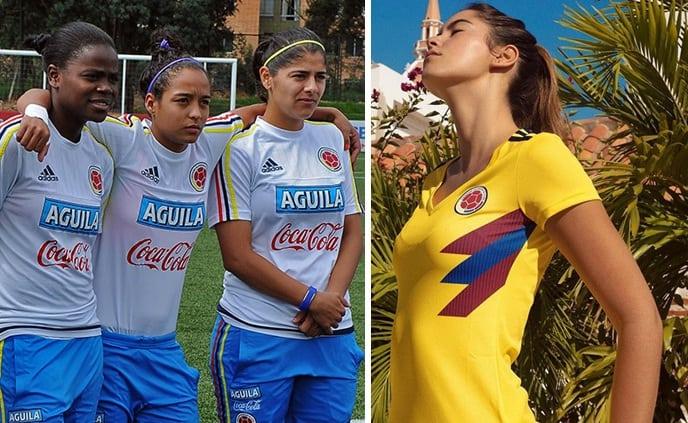 Jugadoras de la Selección Colombia y Paulina Vega