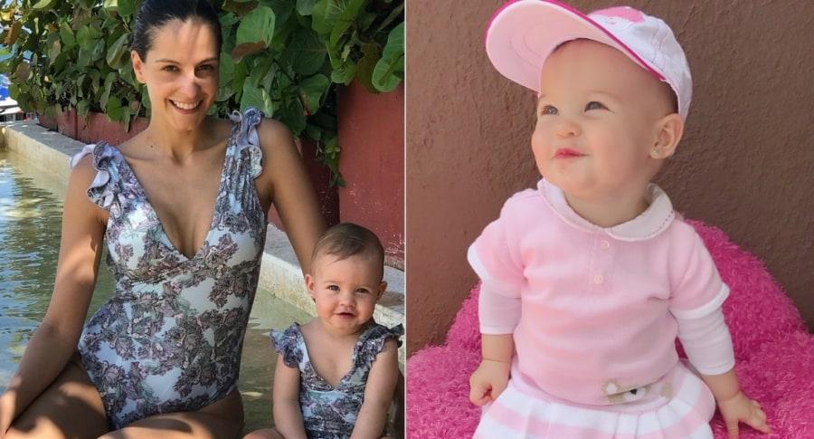 Laura Acuña, presentadora, y su hija Helena.