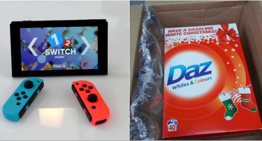Nintendo switch y jabón Daz